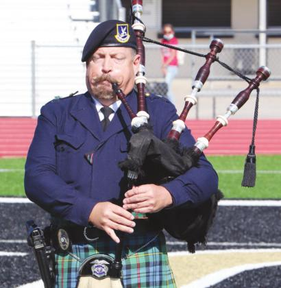 Jeff Courts, Air Force veteran, played Amazing Grace on his bagpipes. Courts plays for many ceremonies locally.
